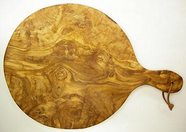 ピザ用オリーブの木のまな板円形、丸、ラウンドオリーブウッドカッティングボード Dモデル【無垢一枚板イタリア製】 PLC_D46