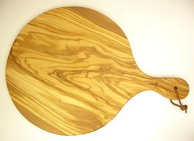 ピザ用オリーブの木のまな板円形、丸、ラウンドオリーブウッドカッティングボード Dモデル【無垢一枚板イタリア製】 PLC_D60