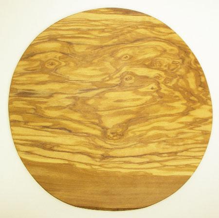 ピザ用オリーブの木のまな板円形、丸、ラウンドオリーブウッドカッティングボード Dモデル 直径30cm 【無垢一枚板イタリア製】 PLC_D71