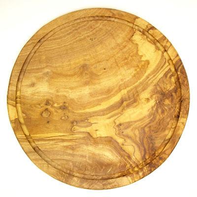 肉用溝つきオリーブの木のまな板、円形ラウンド丸いまな板カッティングボード直径30cmサイズ【無垢一枚板イタリア製】オリーブウッド木製PLC_VD_G04