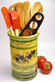 陶製キッチンツールスタンド(オリーブ)PT_UST02