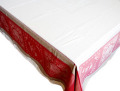 プロヴァンステーブルクロスジャガード織りテフロン撥水加工(モノグラム・ボルドー×ベージュ)全5サイズ【フランス】 NAP_20_121e