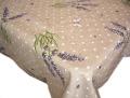 リネン麻撥水加工プロヴァンステーブルクロス ラベンダー、水玉柄(Le Temps des Lavandes・ナチュラル)140×200cmサイズ【フランス】 NAP_20_195e