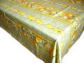 プロヴァンスプリントテーブルクロス撥水加工(レモン&小花・グリーン)全6サイズ【フランス】 NAP_20_94e