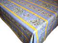 プロヴァンスプリントテーブルクロス撥水加工(オリーブ2005・ブルー×イエロー)全6サイズ【フランス】 NAP_20_95e