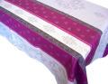 プロヴァンステーブルクロスジャガード織り撥水加工(モントリュー・グレー×プラム)全2サイズ【フランス】 NAP_25_230e