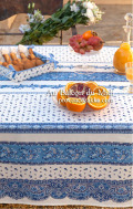 プロヴァンスプリントテーブルクロス撥水加工 Marat d'Avignon マラダビニョン(トラディション・ホワイト×ブルー)長方形全7サイズ【フランス】 NAP_25_243e