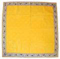 正方形テーブルクロス:トップクロスジャガード織り&プロヴァンス生地フレームクロス80×80cmサイズ(オリーブ2005・ブルー×イエロー)【フランス】NAP_C1_07::他サイズお取り寄せ可能