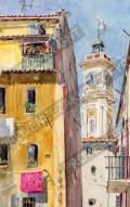 プロヴァンス風景絵画(Nice ニース, 旧市街サンフランソワ通り)PT_MRT_12