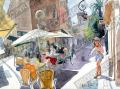 プロヴァンス風景絵画(Antibes アンティーブ, 噴水) PT_MRT_23