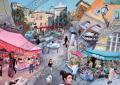 プロヴァンス風景絵画(Nice ニース, 旧市街サンフランソワ広場) PT_MRT_32
