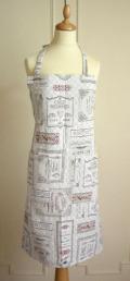 プロヴァンスワインラベルジャガード織りエプロン(Chez Georges シェ・ジョルジュ) 【フランス製】TAB_JQT05