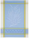 ジャガード織キッチンクロス、ディッシュクロス、ふきん、トーション【フランス】(グリニャン・オフホワイト×ブルー)TOR_42