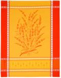 ジャガード織キッチンクロス、ディッシュクロス、ふきん、トーション【フランス】(グリニャン・レッド×イエロー)TOR_41