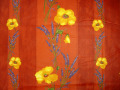 プロヴァンス生地撥水加工【フランス】 コクリコ&ラベンダー(レッド) RAYURE ハギレ95cm CO_TS_1