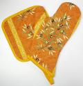 キッチングローブ*ミトン&正方形鍋つかみセット(オリーブ2005・テラコッタオレンジ)GAN_S32