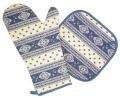 キッチングローブ*ミトン&スクエア鍋つかみセット(エストレル・ホワイト×ブルー)GAN_S42