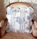 マリネットMARINETTE ブティBOUTIS キルトクッションカバー42×42cmサイズ(COURTOISIE・アイボリー×ブルー) 【フランス】HOU_C42