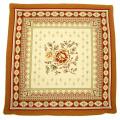 ジャガード織り MAZAN マザン クッションカバー花柄(ホワイト×オレンジレッド) 45×45cmサイズ【フランス製】 HOU_JQD12