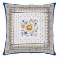 ジャガード織り MAZAN マザン クッションカバー花柄(ホワイト×ブルー) 45×45cmサイズ【フランス製】 HOU_JQD6