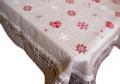 正方形テーブルクロス:トップクロスジャガード織り145×145cmサイズ(HIVER・トープベージュ×レッド)【フランス】ノルディック柄 NAP_C69