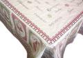 正方形テーブルクロス:トップクロスジャガード織り145×145cmサイズ(NOUGATINE ヌガティーヌ・ピンク×グリーン)【フランス】NAP_C70::他サイズお取り寄せ可能