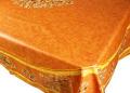 プロヴァンスプリントテーブルクロス撥水加工(オリーブ2005・テラコッタオレンジ)160×250cmサイズ【フランス】 NAP_25_75e
