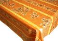 プロヴァンスプリントテーブルクロス撥水加工(オリーブ2005・テラコッタオレンジ)全5サイズ【フランス】 NAP_20_67e