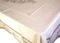 プロヴァンスプリントテーブルクロス撥水加工(セミ&オリーブ柄・ホワイト×ベージュ)160×250cmサイズ【フランス】 NAP_25_67e
