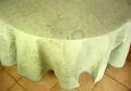 ラウンド・円形テーブルクロス丸テーブル円卓用直径200cmサイズ(ジャガード織りひまわり、抽象柄・ミントグリーン)【フランス】NAP_R62::他サイズお取り寄せ可能