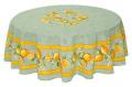 ラウンド・円形テーブルクロス撥水加工丸テーブル円卓用全2サイズ 直径180cm, 直径230cm(レモン&小花柄・グリーン)【フランス】NAP_R54e
