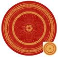 ラウンド・円形テーブルクロス丸テーブル円卓用ジャガード織りテフロン撥水加工直径230cmサイズ【リバーシブル】Marat d'Avignon マラダヴィニョン(バスティード・ボルドー×イエロー)【フランス】NAP_R172e