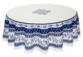 ラウンド・円形テーブルクロス撥水加工丸テーブル円卓用直径180cmサイズ Marat d'Avignon マラダヴィニョン(アヴィニョン・ホワイト×ブルー)【フランス】NAP_R204e