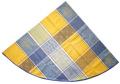 ラウンド・円形テーブルクロス丸テーブル円卓用ジャガード織りアクリルコーティング撥水加工直径180cmサイズ(Valbonne パッチワーク・イエロー×ブルー)【フランス】NAP_R245e
