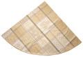 ラウンド・円形テーブルクロス丸テーブル円卓用ジャガード織りアクリルコーティング撥水加工直径180cmサイズ(Valbonne パッチワーク・オフホワイト×ベージュ)【フランス】NAP_R246e