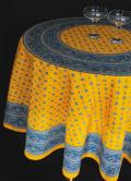 ヴァルドローム VALDROME ラウンド・円形テーブルクロス撥水加工丸テーブル円卓用直径175cmサイズ(Galon ガロン・イエロー×ブルー)【フランス】NAP_R263e