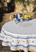 ラウンド・円形テーブルクロス撥水加工丸テーブル円卓用直径180cmサイズ (Beaucaire ボーケール・オフホワイト×ブルー)【フランス】NAP_R268e