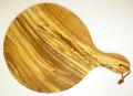 ピザ用オリーブの木のまな板円形、丸、ラウンドオリーブウッドカッティングボード Dモデル【無垢一枚板イタリア製】 PLC_D55