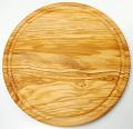 肉用溝つきオリーブの木のまな板、円形ラウンド丸いまな板カッティングボード直径25cmサイズ【イタリア製】オリーブウッド木製PLC_VD01