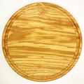 肉用溝つきオリーブの木のまな板、円形ラウンド丸いまな板カッティングボード直径25cmサイズ【無垢一枚板イタリア製】オリーブウッド木製PLC_VD04