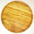 肉用溝つきオリーブの木のまな板、円形ラウンド丸いまな板カッティングボード直径25cmサイズ【無垢一枚板イタリア製】オリーブウッド木製PLC_VD09