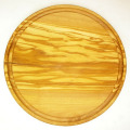 肉用溝つきオリーブの木のまな板、円形ラウンド丸いまな板カッティングボード直径25cmサイズ【無垢一枚板イタリア製】オリーブウッド木製PLC_VD11