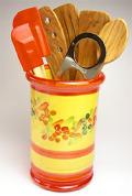陶製キッチンツールスタンド(花柄・レッド)PT_UST04