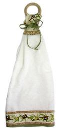 木製リングハンドタオル(オリーブ2005・ホワイト×ベージュ)SER_28
