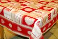 正方形スクエアテーブルクロス:トップクロス:フレームクロスジャガード織り135×135cmサイズ(モンターニュ・ホワイト×レッド) ノルディック柄 【フランス】SM_2016_M1