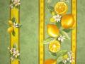 TIS_95 プロヴァンス生地【フランス】 レモン&小花柄(ミントグリーン) RAYURE ハギレ55cm