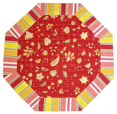 8角形オクトゴナルフレームテーブルマット38×38cmサイズ(ヴァンス・レッド)【フランス】TP_OCT05::他サイズお取り寄せ可能