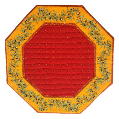 8角形オクトゴナルフレームテーブルマット38×38cmサイズ(カリソン&オリーブ・レッド×イエロー) 【フランス】TP_OCT33::他サイズお取り寄せ可能