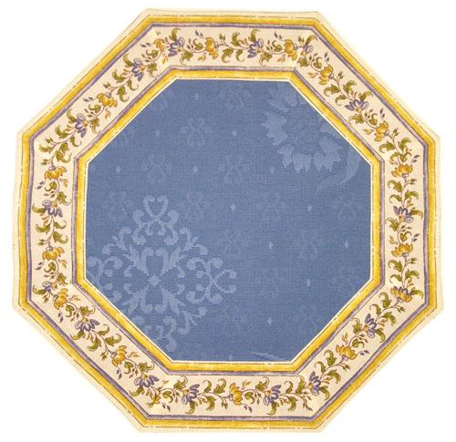 8角形オクトゴナルジャガード織りフレームテーブルマット38×38cmサイズ(ムスティエ・ホワイト×ブルー) 【フランス】TP_OCT_JQ01
