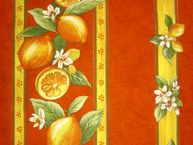 プロヴァンス生地【フランス】 レモン&小花柄(オレンジ) RAYURE ハギレ55cm TIS_97